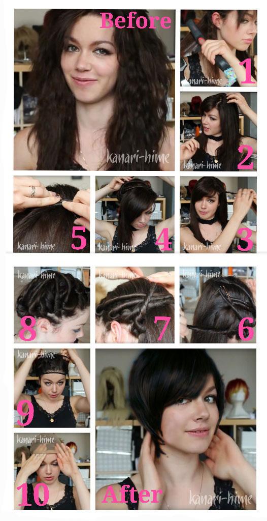 how to put thick hair into a short wig Cara Memakai Wig Untuk Rambut Panjang, Tebal dan Mengembang